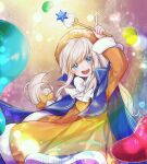 1girl :d bangs blue_cape blue_capelet blue_eyes bow bowtie candy cape capelet commentary cookie_run cream_puff_cookie dress food food-themed_clothes hand_up hat highres holding holding_wand humanization index_finger_raised jelly_bean long_hair long_sleeves looking_at_viewer low-tied_long_hair open_mouth sidelocks smile solo sparkle sugar_(food) very_long_hair wand white_bow white_hair yellow_dress yellow_headwear yeondu_(brownbear)
