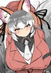 1girl :3 alternate_breast_size animal_ear_fluff animal_ears arrow_(symbol) bangs blush breast_pocket breasts closed_mouth eyebrows_visible_through_hair fox_ears fox_girl fox_tail gigantic_breasts ginzake_(mizuumi) grey_hair hair_between_eyes head_tilt headset impossible_clothes impossible_jacket island_fox_(kemono_friends) jacket kemono_friends leaning_forward leaning_to_the_side long_hair long_sleeves looking_at_viewer meme_attire motion_lines multicolored_hair necktie pocket red_jacket redhead ribbon shirt sketch slit_pupils smile solo tail twintails upper_body very_long_hair virgin_killer_sweater white_hair yellow_eyes