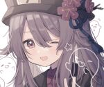 1girl :3 :d bangs blush brown_hair brown_headwear brown_jacket commentary_request fang flower flower-shaped_pupils genshin_impact ghost hair_flaps hat hat_flower highres hu_tao_(genshin_impact) jacket long_hair open_mouth plum_blossoms porkpie_hat red_eyes red_footwear red_shirt roku_6 shirt sidelocks smile solo star_(symbol) twintails upper_body v very_long_hair