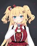 1girl absurdres akai_haato aqua_eyes bangs blonde_hair blush bow bowtie dress eyebrows_visible_through_hair finger_to_mouth hair_bow hair_ornament hairclip heart heart_hair_ornament highres hololive jewelry licking_lips looking_at_viewer red_dress red_nails solo tongue tongue_out tor1_tmx upper_body virtual_youtuber