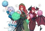 3girls ahoge alternate_costume arm_up bangs bat_wings beret black_legwear blue_eyes blush braid breasts cheering chinese_clothes closed_mouth commentary_request demon_tail formal green_headwear hair_ribbon hand_on_hip hat hat_ornament head_wings heart highres himadera hong_meiling izayoi_sakuya koakuma large_breasts long_hair maid maid_headdress multiple_girls one_eye_closed open_mouth puffy_short_sleeves puffy_sleeves red_eyes redhead ribbon short_hair_with_long_locks short_sleeves side_slit sidelocks silver_hair simple_background spoken_heart spoken_sparkle spoken_sweatdrop star_(symbol) star_hat_ornament sweatdrop tail touhou tress_ribbon twin_braids twitter_username white_background white_legwear wings