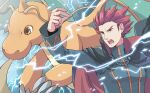 1boy black_cape cape claws commentary_request dragonite electricity jacket lance_(pokemon) long_sleeves male_focus open_mouth pokemon pokemon_(creature) pokemon_(game) pokemon_hgss redhead short_hair spiky_hair teeth tongue upper_body xichii