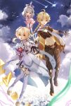 1boy 2girls absurdres aether_(genshin_impact) ahoge bird black_gloves black_pants blonde_hair boots bouquet braid braided_ponytail brother_and_sister clouds cloudy_sky detached_sleeves field floating flower flower_field genshin_impact gloves hair_flower hair_ornament halo highres long_hair long_sleeves lumine_(genshin_impact) midriff multiple_girls navel outstretched_arm outstretched_arms paimon_(genshin_impact) pants scarf shooting_star short_sleeves siblings single_braid sky stomach uni_sirasu white_legwear white_scarf white_sleeves yellow_eyes