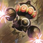 brown_eyes claydol closed_eyes commentary_request energy flying full_body glowing highres mian_(3zandora) no_humans pokemon pokemon_(creature) shiny solo