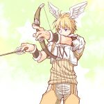 1boy arrow_(projectile) bangs blonde_hair blue_eyes bow_(weapon) brown_shirt brown_shorts closed_mouth commentary_request cowboy_shot cropped_jacket eyebrows_visible_through_hair feathered_wings head_wings holding holding_arrow holding_bow_(weapon) holding_weapon hunter_(ragnarok_online) jacket looking_to_the_side male_focus pants pants_under_shorts ragnarok_online sakakura_(sariri) shirt short_hair short_sleeves shorts solo weapon white_jacket white_pants white_wings wings wristband
