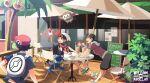 3boys alolan_exeggutor backpack backwards_hat bag baseball_cap black_hair chair commentary_request day drinking_straw glass hat jacket litten lucas_(pokemon) male_focus multiple_boys open_mouth outdoors pokemon pokemon_(creature) pokemon_(game) pokemon_dppt pokemon_hgss pokemon_oras popplio red_headwear rotom rotom_dex rowlet shoes short_hair short_sleeves sign sitting smile spiky_hair table teeth tongue umbrella upper_teeth white_bag xichii