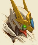 artist_name english_commentary from_side glowing glowing_eye green_eyes gundam gundam_barbatos gundam_barbatos_lupus gundam_tekketsu_no_orphans head_only highres looking_down mecha mobile_suit piston robbie_trevino science_fiction solo v-fin