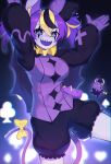 !? 1girl :d animal_ears blue_eyes bow breasts clown hakos_baelz hands_up hat highres hololive jester_cap large_breasts long_sleeves looking_at_viewer mouse mouse_ears multicolored_hair open_mouth puffy_long_sleeves puffy_shorts puffy_sleeves purple_hair purple_theme purple_vest sharp_teeth shorts smile solo standing streaked_hair stuffed_animal stuffed_mouse stuffed_toy tail tail_bow tail_ornament teeth twintails vest yellow_bow yoako