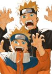 2boys blonde_hair blue_eyes commentary_request fingernails forehead_protector hands_up highres konohagakure_symbol looking_at_viewer male_focus mirin_(coene65) multiple_boys naruto naruto_(series) open_mouth short_hair simple_background smile teeth time_paradox turtleneck upper_body uzumaki_naruto white_background