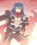 1boy :3 angeling armor assassin_cross_(ragnarok_online) bangs black_cape black_pants black_shirt blue_hair brown_eyes cape eremes_guile eyebrows_visible_through_hair feet_out_of_frame long_hair looking_to_the_side male_focus open_clothes open_shirt pants pauldrons ragnarok_online red_scarf sakakura_(sariri) scarf shirt shoulder_armor solo torn_cape torn_clothes torn_scarf vambraces waist_cape