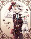 1boy :d ahoge animal bag bangs belt black_vest blush brown_background brown_bag brown_belt brown_gloves brown_headwear brown_pants buttons cheer_(cheerkitty14) collared_shirt danganronpa_(series) danganronpa_v3:_killing_harmony dog double-breasted english_commentary fangs gloves goggles goggles_on_head gradient gradient_background green_neckwear grin hat heart highres holding holding_clothes holding_hat keebo kibo_(cheer) looking_at_viewer necktie one_eye_closed open_mouth pants pouch shirt smile steampunk tongue tongue_out vest white_hair white_shirt