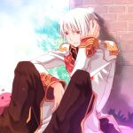 1boy :3 bangs black_coat brick_wall brown_eyes brown_pants closed_mouth coat commentary dated_commentary eyebrows_visible_through_hair eyes_visible_through_hair feet_out_of_frame frown hair_between_eyes high_priest_(ragnarok_online) layered_clothing long_sleeves looking_at_viewer male_focus pants poring ragnarok_online red_coat sakakura_(sariri) short_hair sitting slime_(creature) solo_focus two-tone_coat white_coat white_hair