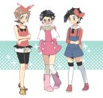 3boys bike_shorts bike_shorts_under_shorts black_hair boots bow_hairband brendan_(pokemon) brown_eyes brown_hair buttons closed_mouth coat commentary_request cosplay crossdressing dawn_(pokemon) dawn_(pokemon)_(cosplay) ethan_(pokemon) hairband lowres lucas_(pokemon) lyra_(pokemon) lyra_(pokemon)_(cosplay) male_focus may_(pokemon) may_(pokemon)_(cosplay) multiple_boys over-kneehighs overalls pigeon-toed pokemon pokemon_(game) pokemon_dppt pokemon_hgss pokemon_oras pokemon_platinum red_footwear scarf shirt shoes short_hair shorts sleeveless sleeveless_shirt sleeves_past_elbows spiky_hair standing thigh-highs white_legwear white_scarf white_shorts xichii yellow_footwear