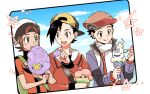 3boys :q backpack backwards_hat bag baseball_cap beanie black_hair blush blush_stickers brendan_(pokemon) brown_eyes brown_hair closed_mouth clouds commentary_request cotton_candy day drifloon eating ethan_(pokemon) green_bag green_eyes hat holding holding_spoon holding_stick jacket long_sleeves lucas_(pokemon) male_focus multiple_boys open_mouth pokemon pokemon_(game) pokemon_dppt pokemon_hgss pokemon_oras pokemon_platinum scarf short_hair short_sleeves sky smile spoon stick teeth themed_object tongue tongue_out upper_teeth vanillish white_headwear white_scarf xichii