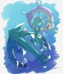 absurdres anchor chain commentary_request dhelmise fish highres looking_down no_humans pokemon pokemon_(creature) qua red_eyes signature solo underwater wishiwashi wishiwashi_(solo)