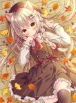 1girl :o acorn animal_ears autumn_leaves bangs beret black_dress black_headwear black_legwear blush bow braid brown_eyes brown_hair cat_ears cat_girl cat_tail collared_shirt commentary dress eyebrows_visible_through_hair frilled_dress frills ginkgo_leaf hair_between_eyes hair_bow hair_ornament hairclip hands_up hat highres leaf long_hair long_sleeves lying maple_leaf on_back on_ground original parted_lips puu_(kari---ume) red_bow red_neckwear shirt single_braid sleeveless sleeveless_dress sleeves_past_wrists solo symbol-only_commentary tail thigh-highs very_long_hair white_shirt x_hair_ornament