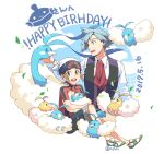 2boys altaria alternate_color beanie blue_eyes brendan_(pokemon) brown_hair collared_shirt commentary_request dated happy_birthday hat holding holding_pokemon jacket leaves_in_wind male_focus multiple_boys necktie open_mouth pokemon pokemon_(creature) pokemon_(game) pokemon_oras shiny_pokemon shirt shoes short_hair short_sleeves shorts smile steven_stone swablu teeth tongue upper_teeth vest white_footwear white_headwear white_shirt xichii