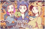 3boys alternate_costume banette banette_(cosplay) bangs brendan_(pokemon) brown_hair candy closed_mouth commentary_request cosplay cyndaquil doughnut ethan_(pokemon) food grey_eyes halloween happy_halloween holding holding_pokemon hood hood_up lollipop lucas_(pokemon) male_focus mimikyu mimikyu_(cosplay) mouth_hold mudkip multiple_boys pokemon pokemon_(creature) pokemon_(game) pokemon_dppt pokemon_hgss pokemon_oras pretzel sableye sableye_(cosplay) short_hair smile turtwig xichii zipper_pull_tab