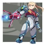 1girl arm_cannon blonde_hair border clenched_hand cropped_legs electricity galois glowing green_eyes highres metroid metroid_dread ponytail power_suit samus_aran serious solo standing weapon white_border