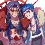 2boys angry blue_hair bodypaint cape closed_mouth cu_chulainn_(caster)_(fate) cu_chulainn_(fate) cu_chulainn_alter_(fate/grand_order) dark_blue_hair dark_persona earrings facepaint fate/grand_order fate_(series) fur-trimmed_cape fur-trimmed_hood fur_trim grin highres hood hood_down hood_up jewelry male_focus multiple_boys multiple_persona muscular muscular_male nova_(novalis4929) pectorals ponytail red_eyes slit_pupils smile spikes spiky_hair topless_male