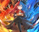 1girl barefoot blue_eyes blue_fire blue_hair blue_horns bow bowtie breasts crossed_arms crossed_legs dragon_girl dragon_horns dress fire floating_hair full_body grin highres horns inferna_dragnis jewelry large_breasts looking_at_viewer multicolored multicolored_eyes multicolored_hair orange_eyes original pale_skin pantyhose red_horns redhead scales sitting smile solo symbol-shaped_pupils throne usagi1923