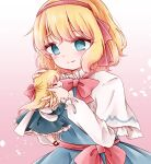1girl alice_margatroid bangs blush closed_mouth doll hairband hands_up highres long_hair looking_at_another looking_down red_hairband shanghai_doll short_hair smile solo touhou yume_suzu_(yumeri)