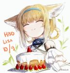 1girl ^_^ animal_ear_fluff animal_ears arknights bangs bare_shoulders blonde_hair blue_hairband braid cake closed_eyes closed_mouth commentary_request dated eyebrows_visible_through_hair facing_viewer food fox_ears fruit grey_background hair_rings hairband happy_birthday highres multicolored_hair shirt signature simple_background smile solo strawberry streaked_hair suzuran_(arknights) twin_braids upper_body white_hair white_shirt yukikochenk