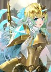 1girl armor bangs blonde_hair blue_eyes blue_hair breastplate commentary_request earrings elbow_gloves eyebrows_visible_through_hair fire_emblem fire_emblem_heroes fjorm_(fire_emblem) flower full_body fur_collar gloves hair_between_eyes hair_flower hair_ornament hand_up headpiece highres jewelry long_hair long_sleeves looking_at_viewer open_mouth pauldrons rose shoulder_armor solo spikes very_long_hair white_flower white_gloves white_rose wide_sleeves yappen