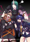 3girls angry animal_ears arguing arknights black_gloves black_jacket blonde_hair blue_hair blue_jacket brown_legwear ch'en_(arknights) closed_eyes closed_mouth crossed_arms dress fang finger_in_ear gloves green_eyes green_hair hair_over_one_eye hair_over_shoulder hands_up height_difference highres horns hoshiguma_(arknights) jacket long_hair low_twintails multiple_girls necktie one_eye_covered oni_horns open_mouth pencil_dress pointing_at_another red_eyes ryuusei_(mark_ii) shirt short_dress short_shorts shorts side_slit signature single_horn skindentation squiggle swire_(arknights) tail tall_female thigh-highs twintails white_shirt yellow_neckwear
