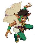 1boy boomerang brown_hair cape closed_mouth dark-skinned_male dark_skin facial_mark grandia grandia_i green_pants looking_at_viewer nemurism pants pointy_ears rapp_(grandia) simple_background smile solo tattoo weapon white_background wristband