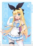 1girl :3 absurdres alice_(alice_in_wonderland) alice_(alice_in_wonderland)_(cosplay) apron arm_behind_back bangs bare_shoulders blonde_hair blunt_bangs bow character_name club_(shape) cosplay detached_collar elbow_gloves eyebrows_visible_through_hair frilled_apron frilled_armband frilled_legwear frilled_skirt frills gloves green_eyes hair_bow hair_ornament halter_top halterneck hand_up heart highres long_hair maid mononobe_alice nijisanji one_eye_closed open_mouth ribbon_print sanmery simple_background single_elbow_glove single_thighhigh skirt solo thigh-highs thigh_strap two-tone_background v virtual_youtuber white_apron