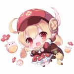 1girl :d ahoge arm_up backpack bag bag_charm bangs bloomers boots brown_footwear brown_gloves brown_scarf cabbie_hat charm_(object) chibi clover_print coat commentary_request dodoco_(genshin_impact) eyebrows_visible_through_hair genshin_impact gloves hair_between_eyes hat hat_feather hat_ornament highres jumping jumpy_dumpty klee_(genshin_impact) knee_boots light_brown_hair long_hair long_sleeves looking_at_viewer low_twintails muikou_(moeko0903) open_mouth pocket pointy_ears randoseru red_coat red_eyes red_headwear scarf sidelocks simple_background smile solo twintails underwear white_background