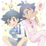 2boys :d akasaka_(qv92612) alternate_costume antenna_hair ash_ketchum bangs black_hair blue_eyes blue_flower bouquet buttons chibi chibi_inset cinderace closed_mouth collared_shirt commentary_request crossed_legs eyelashes flower goh_(pokemon) grey_shorts holding holding_bouquet holding_flower jacket knees long_sleeves male_focus multiple_boys neck_ribbon one_eye_closed open_mouth pants petals pikachu pink_jacket pink_pants pink_shirt pokemon pokemon_(anime) pokemon_swsh_(anime) red_ribbon ribbon shirt short_hair shorts smile tongue vest white_flower white_shirt