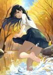 1girl :d artist_name autumn back bangs barefoot black_hair blue_skirt breasts brown_eyes dated day dress_shirt feet forest from_behind ginkgo_leaf highres leaf long_hair looking_at_viewer looking_back m.a.y. nature open_mouth original outdoors pleated_skirt pond school_uniform shirt signature skirt sleeves_folded_up smile soles solo splashing standing standing_on_one_leg tree wading water water_drop white_shirt