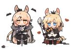 2girls :3 alternate_costume animal_ears arknights armor ascot aunt_and_niece bat black_bow black_cape black_cloak black_legwear blemishine_(arknights) blonde_hair blue_eyes bow cape cloak commentary_request extra_ears eyebrows_visible_through_hair fur-trimmed_cloak fur_trim hair_bow hair_ornament hairclip holding holding_staff holding_weapon holding_whip horse_ears horse_girl horse_tail kyou_039 long_hair looking_at_viewer multiple_girls plaid plaid_skirt planted planted_sword pleated_skirt simple_background skirt staff straight-on sword tail thick_eyebrows weapon whip whislash_(arknights) white_background white_neckwear white_skirt yellow_eyes