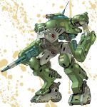 arm_cannon for_the_barrel funbolt mecha no_humans one-eyed paint_splatter parody radio_antenna red_eyes science_fiction scopedog solo soukou_kihei_votoms style_parody thrusters weapon wheel white_background