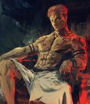 1boy abs architecture brown_hair closed_mouth dated east_asian_architecture extra_eyes facial_mark forehead_tattoo highres itadori_yuuji jujutsu_kaisen looking_at_viewer male_focus muscular muscular_male pectorals red_eyes ryoumen_sukuna_(jujutsu_kaisen) shimhaq short_hair signature sitting solo tattoo throne topless_male very_short_hair