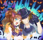 1boy 1girl animal_ears blue_eyes breasts brown_eyes brown_hair fake_animal_ears gloves halloween halloween_costume hat highres hilbert_(pokemon) hilda_(pokemon) long_hair looking_at_viewer open_mouth pokemon pokemon_(game) pokemon_bw smile