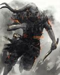 1boy covered_face dagger dark_souls_(series) dark_souls_iii embers facing_viewer greirat_of_the_undead_settlement highres holding holding_dagger holding_weapon knife male_focus mask pants shimhaq solo standing standing_on_one_leg weapon