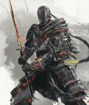 1boy armor artist_name breastplate commentary covered_face dark_souls_(series) dark_souls_ii embers english_commentary fighting_stance full_armor helmet highres holding holding_sword holding_weapon japanese_armor kusazuri male_focus pauldrons shimhaq shoulder_armor sir_alonne solo standing sword two-handed weapon