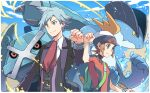 2boys backpack bag bangs beanie brendan_(pokemon) brown_hair clenched_hand closed_mouth collared_shirt commentary_request green_bag hat jacket jewelry long_sleeves male_focus metagross multiple_boys necktie open_clothes open_jacket pokemon pokemon_(creature) pokemon_(game) pokemon_oras red_neckwear ring shirt short_hair short_sleeves smile steven_stone swampert upper_body vest white_headwear white_shirt xichii