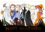 3girls 3so4ru5959 4boys absurdres alan_stuart animal_ears aqua_eyes asymmetrical_bangs bangs black_bow black_cape black_cloak black_eyes black_hair blonde_hair blue_dress blue_eyes blunt_bangs bow brother_and_sister brown_eyes brown_hair candy cape cat_ears chinese_clothes cloak closed_mouth commentary dress english_text eyebrows_visible_through_hair fake_animal_ears food from_side geordo_stuart ghost_costume grey_hair hair_bow halloween_costume happy_halloween hat highres holding_lamp jack-o'-lantern katarina_claes keith_claes light_brown_hair long_hair looking_at_another looking_back mary_hunt medium_hair multiple_boys multiple_girls nicol_ascart open_mouth orange_dress orange_headwear otome_game_no_hametsu_flag_shika_nai_akuyaku_reijou_ni_tensei_shite_shimatta red_eyes scar scar_on_face scar_on_forehead short_hair short_ponytail siblings silver_hair smile sophia_ascart standing sweatdrop vampire_costume white_dress witch_hat younger