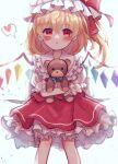 1girl bangs blue_bow blush bow commentary_request crystal dorowa_(drawerslove) eyebrows_visible_through_hair flandre_scarlet frilled_shirt_collar frilled_skirt frills hair_between_eyes hat hat_ribbon heart highres holding holding_stuffed_toy knees looking_at_viewer mob_cap open_mouth puffy_short_sleeves puffy_sleeves red_eyes red_ribbon red_skirt red_vest ribbon shirt short_sleeves side_ponytail simple_background skirt solo spoken_heart standing stuffed_animal stuffed_toy teddy_bear touhou vest white_background white_shirt wings