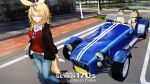 1girl ahoge animal_ears blonde_hair blue_bow blue_pants blush bow braid breasts brown_jacket car caterham caterham_7 character_name collared_shirt commentary_request convertible day denim eyewear_hang eyewear_removed facial_mark fox_ears fox_girl fox_tail glasses ground_vehicle hair_bow highres hololive jacket long_hair long_sleeves looking_at_viewer motor_vehicle multicolored_hair omaru_polka one_eye_closed open_clothes open_jacket open_mouth outdoors pants pink_hair red_sweater shirt single_braid solo standing streaked_hair sweater tail violet_eyes virtual_youtuber watch watch white_shirt you'a