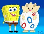 adorable black_eyes blue_eyes brown_pants crossover cute egg pokemon spongebob_squarepants spongebob_squarepants_(character) togepi