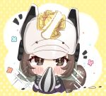 +_+ 1girl animal_ears animal_ears_helmet arknights black_gloves black_jacket blue_flower blush_stickers brown_eyes brown_flower brown_hair commentary_request covered_mouth cropped_torso fake_animal_ears fire_helmet fire_jacket flower gloves highres holding jacket long_sleeves looking_at_viewer pink_flower polka_dot polka_dot_background retxoxt seed shaw_(arknights) signature solo sparkle squirrel_ears squirrel_tail sunflower_seed tail two-tone_background upper_body white_background white_headwear yellow_background