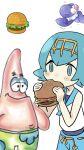 blue_hair burger crossover cute eating krabby_patty lana_(pokemon) patrick_star phone_wallpaper pink_skin pokemon popplio spongebob_squarepants wallpaper