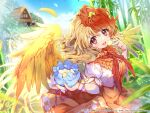 1girl animal_on_head arm_garter artist_request bamboo bird bird_on_head bird_wings blonde_hair blue_sky blurry blurry_background clouds dress eyebrows_visible_through_hair feathered_wings feathers highres hut light_particles looking_at_viewer mochi multicolored_hair niwatari_kutaka on_head open_mouth orange_skirt pouch red_neckwear red_ribbon redhead ribbon short_hair short_sleeves skirt sky solo teeth touhou touhou_danmaku_kagura two-tone_hair upper_body upper_teeth vest white_vest wings