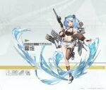 1girl arnold-s asymmetrical_legwear black_legwear blue_hair breasts cannon destroyer gun highres holding holding_gun holding_weapon machinery military military_vehicle navel original personification searchlight ship single_thighhigh small_breasts solo thigh-highs torpedo torpedo_tubes turret two_side_up uss_hovey_(dd-208) warship watercraft weapon yellow_eyes