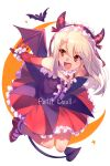 1girl bangs bare_shoulders blush breasts echo_(circa) fate/grand_order fate/kaleid_liner_prisma_illya fate_(series) halloween_petite_devil_(fate/grand_order) illyasviel_von_einzbern long_hair open_mouth red_eyes small_breasts smile solo white_hair